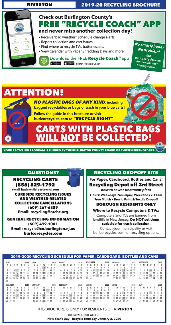 Trash Collection & Recycling Information - Borough of Riverton, NJ